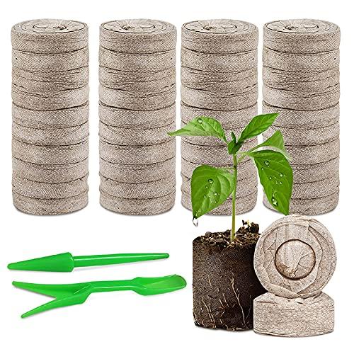 120 Pcs Peat Pellets Plant Starting Plugs, Garden Nutrient Fertilizer Seedling Soil Blocks, 30mm Organic Compost Fiber Soil Starter Mix for Indoor Outdoor Seedling Transplanting Herb Flower Vegetables