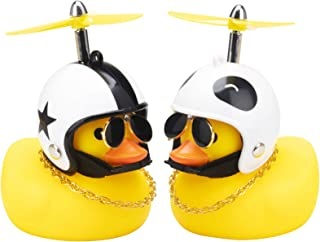 wonuu Car Rubber Duck Cute Yellow Wind-Breaking Duck Dashboard Toy 2Pack Small Duck Ornaments Car Decorations with Propell...