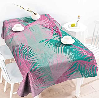 EwaskyOnline Elastic Tablecloth Rectangular,Palm Leaf Beach Party Theme Vibrant Composition with Pink and Green Trees Vintage,Table Cover for Dining,W60X90L, Pink Teal White