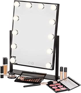 Voyage Hollywood Style Mirror with 12x3W Dimmable LED lights with Touch Control - Premium Vanity Makeup Mirror with Lights Tabletop Lighted Cosmetic Mirror 35cmX50cm frame (Black)