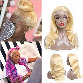 613 Frontal Wig Blonde Body Wave Lace Front Wig Can Be Dye Glueless 150 Density 13x4 Free Part Pre Plucked Bleached Knots Translucent With Baby Hair 9a For Black Women 20 Inch