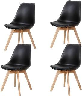 Lucky Factory Lot de 4 chaises de Salle à Manger scandinaves Chaise Tulipe, Chaise de Cuisine Salle à Manger Design rembou...
