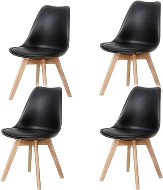 Lucky Factory Lot de 4 chaises de Salle à Manger scandinaves, Chaise de Cuisine Salle à Manger Design scandinave Assise rembo