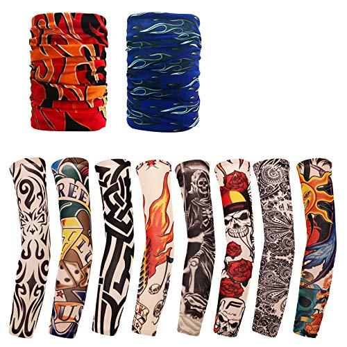 Baozun Tattoo Ärmel 8 Stück mit Stirnband 2 Stück Temporäre Tattoos Arm Tätowierung Armstrümpfe Tattoo Strumpf Arm für Karneval Fasching Party