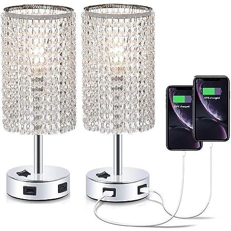 Dellemade - Set di 2 lampade da tavolo in cristallo con 2 porte USB per camera da letto, soggiorno, camera da letto o come regalo di nozze