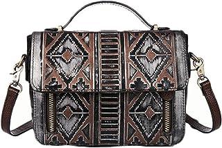 Skbiubiu Women's new embossed fashion temperament small square bag leather retro shoulder slung handbag (Color : Silver)