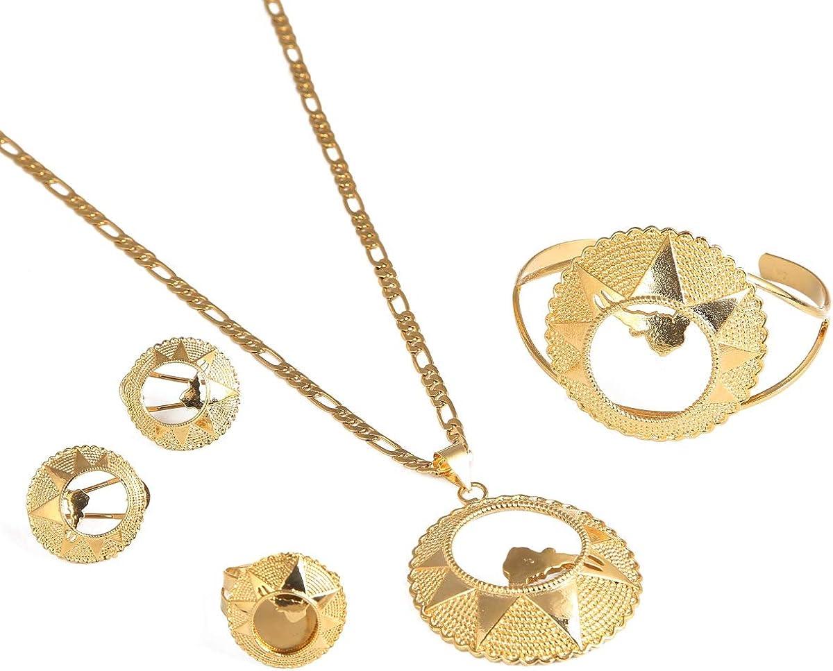 Big Wedding Eritrean Bride Jewelry Sets Necklace Earring Pendant Bangle Ring Eritrea Africa Kenya Ethiopian Jewelry Set
