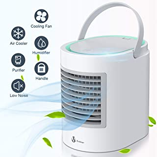 Portable Air Conditioner, Portable Cooler, Quick & Easy Way to Cool Personal Space, As Seen On TV, Suitable for Bedside, Office and Study Room. Three Wind Level Adjustment (Gray)