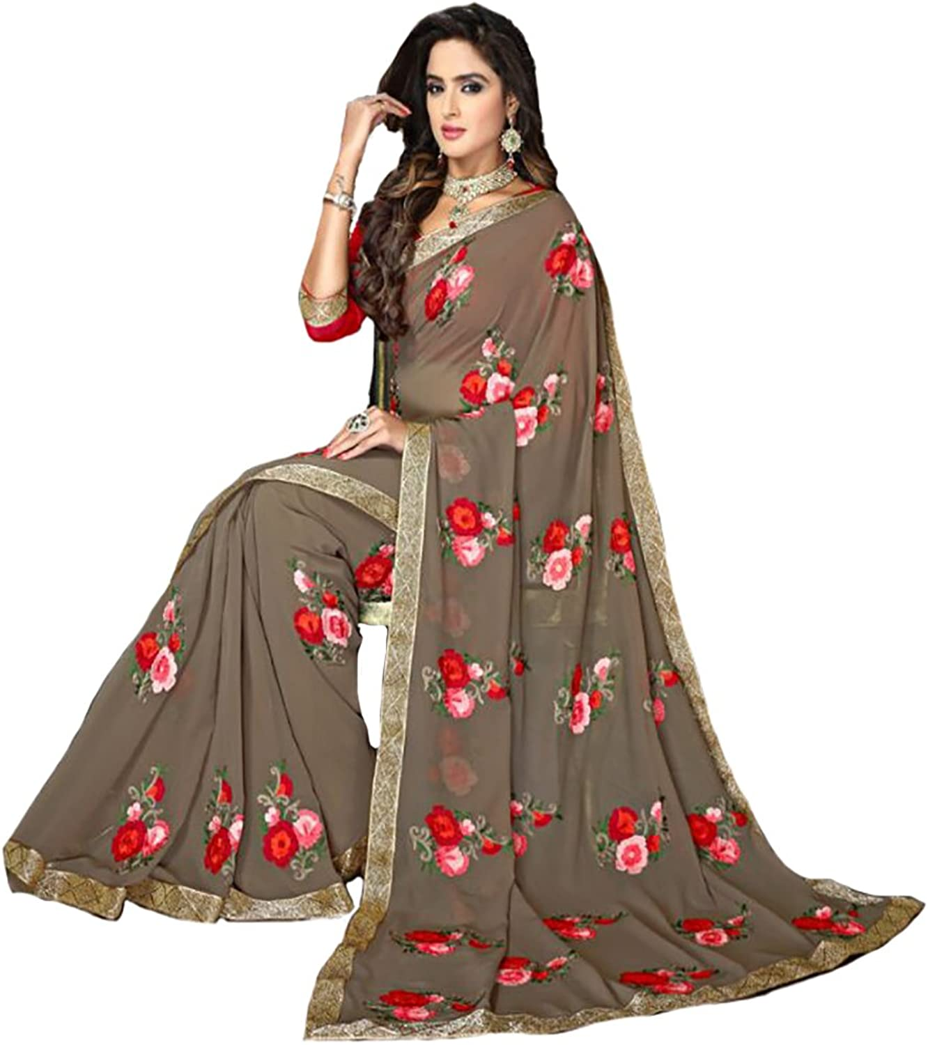 Bollywood Party wear Saree Sari Ceremony Collection Gown Blouse Petticoat