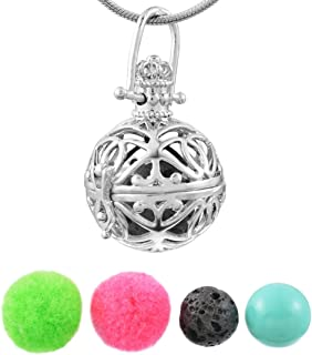 MJARTORIAラバストーン音楽チャイムボールAromatherapy Essential Oil Diffuserロケットペンダントネックレス
