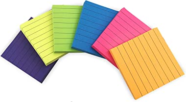 VEEYOL 6 Bright Color Lined Sticky Notes 600 Sheets Total, 3 in x 3 in, 100 Sheets/Pad, Easy to Post