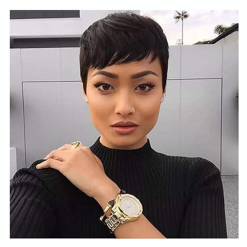 望ましい美容師ラショナル女性用ウィッグ、ナチュラルファッションショートストレートふわふわヘアセット、高温シルク耐熱合成繊維ウィッグ
