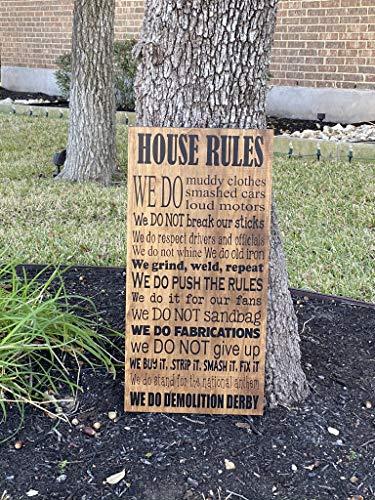 Unknow Demolition Derby House Rules Personalizzato Legno Segno Derby Racing Talk Derby To Me Derby Driver Fan Regalo Cognome Segno Regole Personalizzate