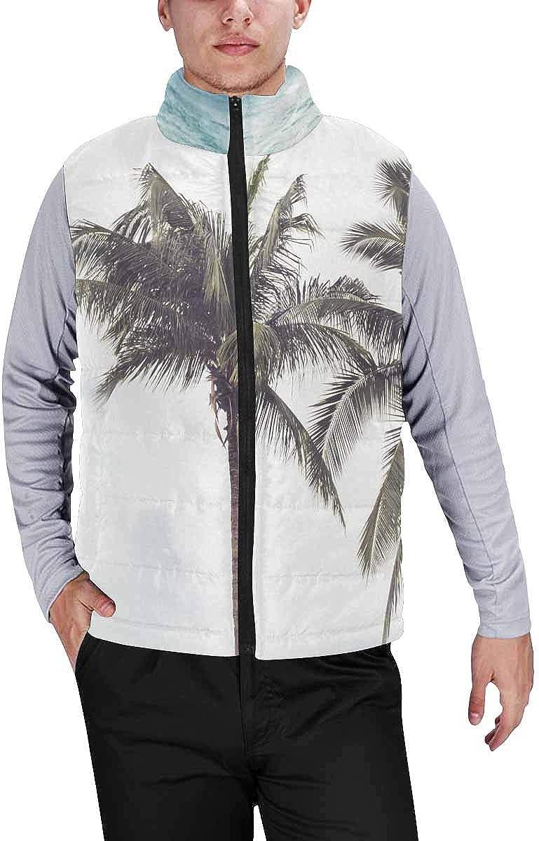 InterestPrint Men's Lightweight Keep Warm Puffer Vest for Outdoor Camping with Tents, Fir Trees, the Setting Sun