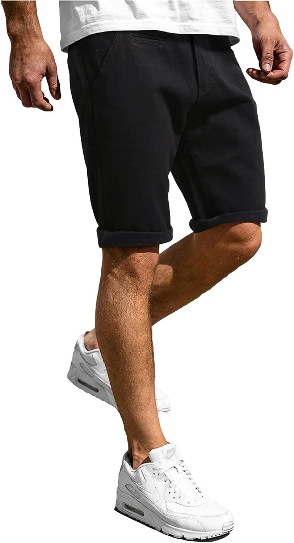 LOSIBUDSA Mens Denim Shorts Slim Fit Casual Skinny Jean Short for Men