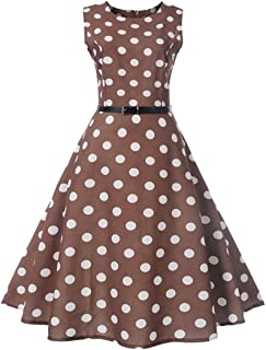 Vintage Dot Printing Dress for Women Sleeveless Casual Evening Party Prom Swing Dress