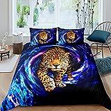 Juego de funda de edredón de leopardo, juego de cama para niños y niñas, decoración de dormitorio, guepardo de animales y misterioso universo temático, acuarela
