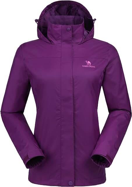 Womens Rain Jacket Waterproof Coat with Hideaway Hood