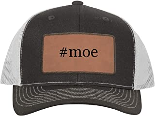 One Legging it Around #moe - Leather Hashtag Dark Brown Patch Engraved Trucker Hat