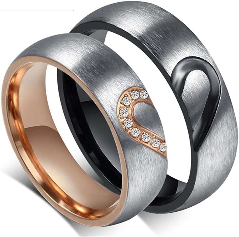 RMM His or Hers Real Love Heart Promise Ring Stainless Steel Couples Wedding Engagement Bands Top Ring Size 6-12
