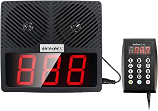 Retekess TD101 Pager Wireless Calling System Restaurant Pager System Queue Loud Speakers 1 3-Number Display Voice Call Host 1 Number Caller Pagers