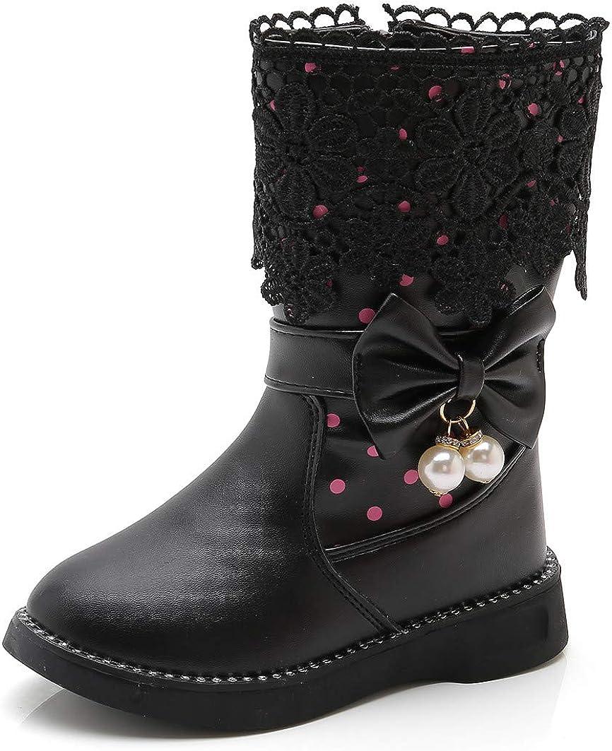 DADAWEN Girl's Waterproof Lace Bowknot Side Zipper Fur Winter Boots (Toddler/Little Kid/Big Kid)