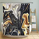 Marble Ink Texture Fabric Shower Curtain, Mixed Black Gray White Gold Yellow and Brown Design Decorative Shower Curtains for Bathroom, Waterproof Fabric 72x72 Inch with Hooks