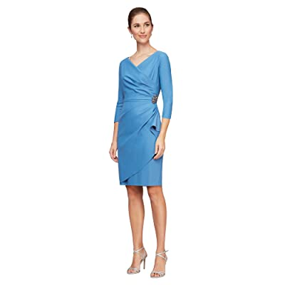 Alex Evenings Short Scuba Sheath Dress with 3/4 Sleeves (Sky Blue) Women