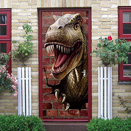 IDWX Etiqueta engomada de la Puerta 3D extraíble, Pegatina Puerta del dragón tiránico, Se Puede Utilizar para la decoración de Puertas de dormitorios y Salas de Estar 77 * 200 cm.