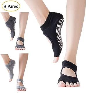 Orumlio Calcetines Antideslizantes Algodón Respisable, Calcetines Invisibles para Yoga, Baila, Fitness, Ejercicios, Talla Universal Adecuado para y Mujeres (3 Pares)
