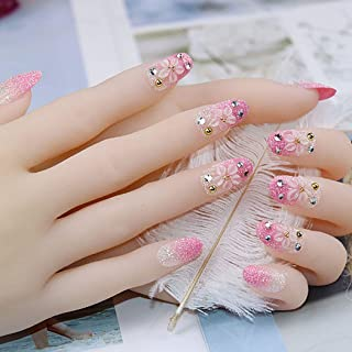Drecode False Nails Bling Rhinestone Flower Bead Pink Gradient Full Cover Fake Nails Wedding Birthday Party Clip on Nails for Women and Girls