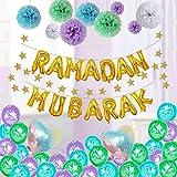 fancyU Juego De Globos De Látex Eid Mubarak 2020 De 12 Pulgadas, Suministros De Fiesta Ramadan Mubarak, Decoración De Fiesta del Festival De Globos Musulmanes 43pcs / Set, Oro/Plata