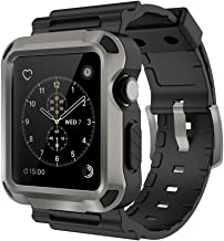 Simpeak Rugged Protective Case with Black Strap Bands Compatible with Apple Watch Series 3 Series 2 42mm, Grey
