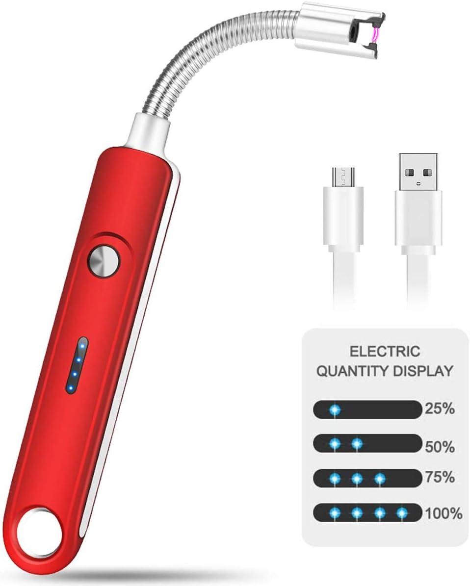 rot USB Elektro LED-Display Feuerzeug Langer Flexibler Hals,with Safety Lock Geeignet f/ür K/üche,Kerzen,Gasherde,Grill Forehakms Lichtbogen Feuerzeug Elektrisch
