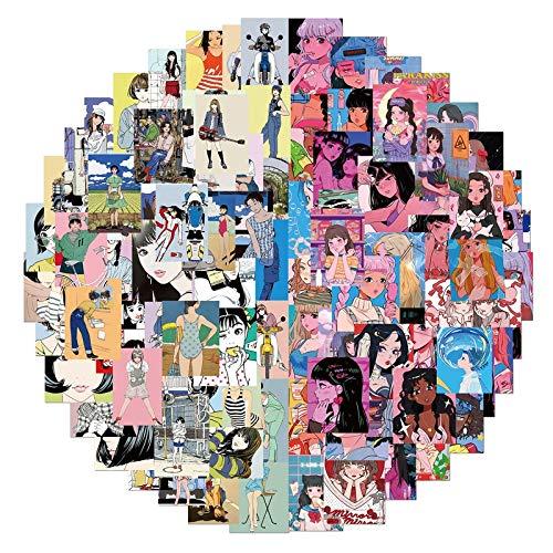 YZFCL Pegatina de ilustración de niña Rosa Vintage Otani ilustración de Bienestar Pegatina de Graffiti para Maleta de teléfono móvil 100 Piezas