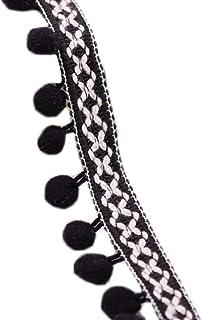 ADAMAI 27Yards Width 1.8inch Hanging Ear Tassle Fringe Trim Ribbon Sewing Clothing Dress Accessories Black