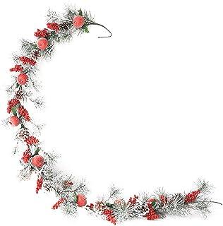 FunPa クリスマスガーランド松ぼっくり花人工花輪ホリデーガーランドパーティー用ベリーガーランド