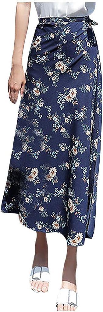 Henwerd Womens Summer Casual Skirt Boho Print High Waist Chiffon Flowy Side Split Mid-Calf Skirt