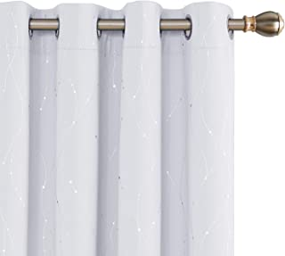 Deconovo Blackout Curtains Wave Line with Dots Foil Print Design Curtains Window Curtains with Grommet for Living Room 52 x 72 Inch Greyish White 2 Panels