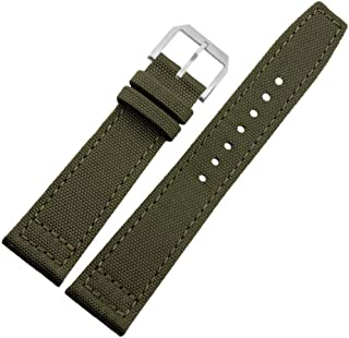 Cordura Canvas Watch Strap Band with Matching Stitching and Lorica Leather Inner Liner, Chose Color & Width, 20mm 22mm Green or Black. Replacement Band with Free Spring bar Tool and Spring bar pins