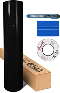 VViViD Black High Gloss Realistic Paint-Like Microfinish Vinyl Wrap Roll XPO Air Release Technology (100ft x 5ft w/Toolkit)