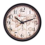 Amazon Brand - Solimo 12-inch Wall Clock - Vintage (Step Movement, Black Frame)