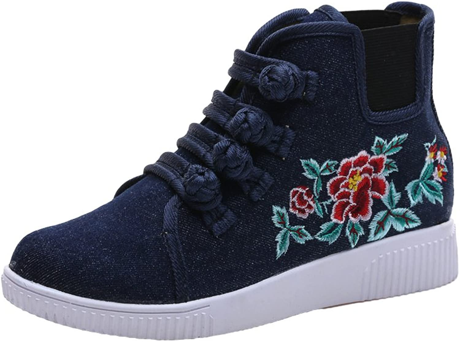 AvaCostume Womens Embroidery Frog Elastic Flats Casual Sneakers