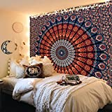FabQual Wall Tapestry for Bedroom Aesthetic Tapestry Hippie Boho Tapestry Indie Tapestry Bohemian Mandala Tapestry Cool Spiritual Trippy Large Tapestry Wall Hanging Orange Tapestry Queen (85x90 in)