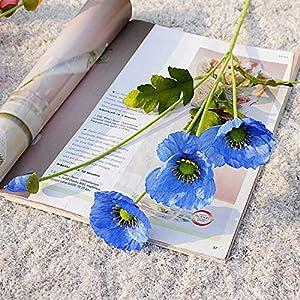 2Krmstr 2 Pcs Artificial Poppy Flowers, Realistic Silk Bouquet Simulation Fake Flower, DIY Art Home Wedding Decorations