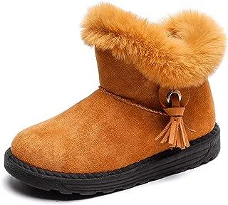 LS Non-slip Boys Boots, Children Snow Boots, Winter Girls Fringed Plus Velvet Boots