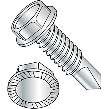 Steel Sheet Metal Screw Pack of 25 3 Length Type AB 1//4-14 Thread Size Slotted Drive Hex Washer Head Zinc Plated
