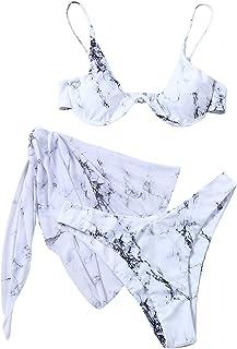 SOLY HUX Women's 3 Piece Tie Dye Bikini Set Swimsuit with Mesh Beach Skirt Bathing Suit Black and White S