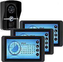 Videodeurbel, Intercom, Bekabelde 7-Inch Videodeurtelefoon Voor Huisbeveiliging, 3 Touchscreen-Monitor + IR-Nachtzichtcamera