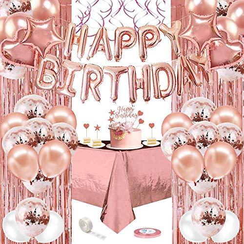 AYUQI Decoraciones de Cumpleaños de oro rosa, Pancarta de Feliz Cumpleaños,Globos de confeti Blanco y Dorado Rosa,Globos de Papel de Aluminio,Cortinas de papel de oro rosa, Mantel de plástico